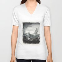 ship V-neck T-shirts featuring Ship by Sylinter