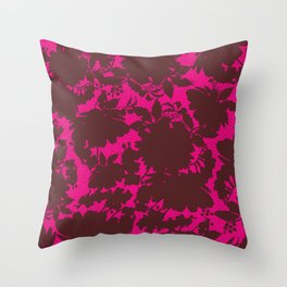 dark floral silhouette on deep pink Throw Pillow