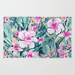 LUSH OLEANDER Tropical Watercolor Floral Rug