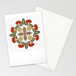 Fly Agaric Toadstool Forest Folkart, Red Fungi Mushroom Design with Trees Stationery Cards