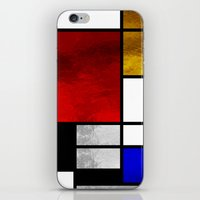 mondrian iPhone & iPod Skins featuring Luxury Mondrian by Dizzy Moments