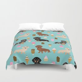 dachshund ice cream multi coat doxie dog breed cute pattern gifts Duvet Cover
