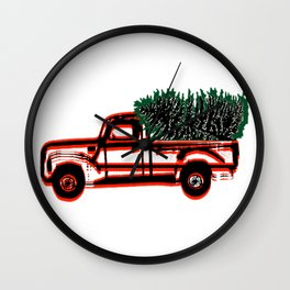Vintage Red Truck with Christmas Tree Wall Clock