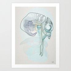 One line Fauno Art Print