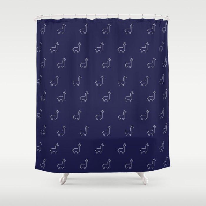 Baesic Llama Pattern (Navy Blue) Shower Curtain by sabrinasignorelli ...