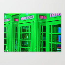 Phone Box - Electric Green Canvas Print