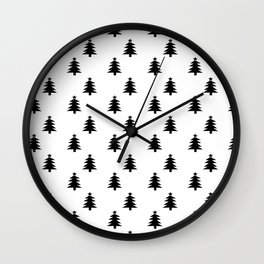 Black and White Christmas Trees Wall Clock