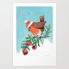 Happy holiday robin Art Print
