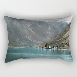 Village by the Lake & Mountains Rectangular Pillow