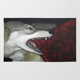 blood and guts wolf Rug