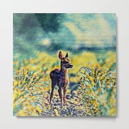 Lost Fawn Of The Dreamworld | Painting Metal Print