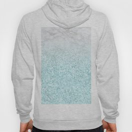 She Sparkles - Turquoise Sea Glitter Marble Hoody