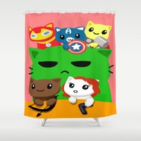 superhero Shower Curtains featuring Superhero Kitties  by Mayying