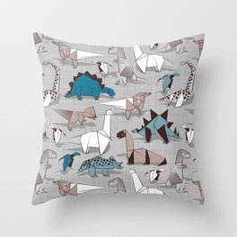 Origami dino friends // grey linen texture blue dinosaurs Throw Pillow