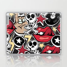 Seamles pattern. Crazy punk rock abstract background. Skulls, guitars, rock symbols. Laptop & iPad Skin