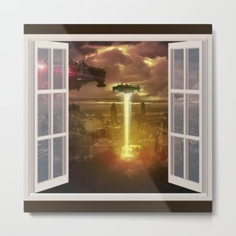 City under Attack thru a Wino Metal Print