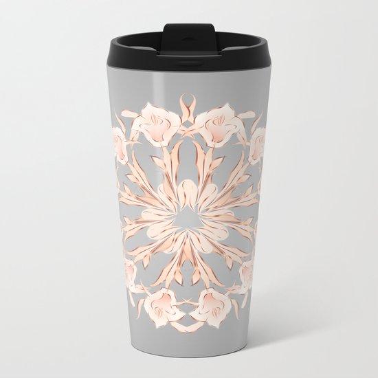 Rose Gold Gray Lilies Mandala Metal Travel Mug