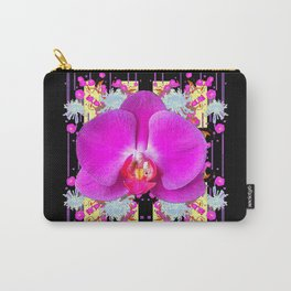 Purple & Fuchsia Pink Butterfly Orchids On Black Floral Art Carry-All Pouch