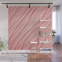 Peppermint Stripes Red and White - Digital Painting Wall Mural