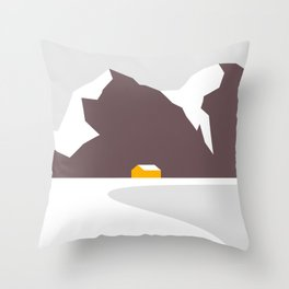 Orange Cabin Under Snowy Mountains Throw Pillow