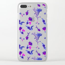 Abstract pink violet purple watercolor hand painted floral Clear iPhone Case