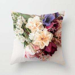 Spring | flowers on a pile | fine art still life color photography | print wall art Throw Pillow