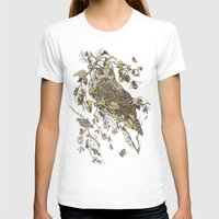 mushrooms T-shirts featuring Great Horned Owl by Teagan White