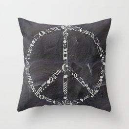 Music peace on chalkboard Throw Pillow