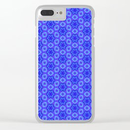 Pretty Feminine Flower pattern in blue, purple, lavender, teal Clear iPhone Case