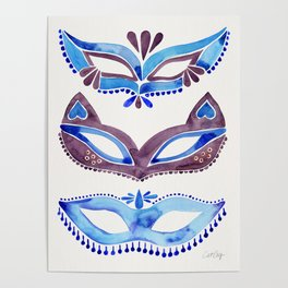Masquerade Mask Trio – Navy & Grey Palette Poster
