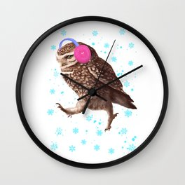Owl with headphones Wall Clock