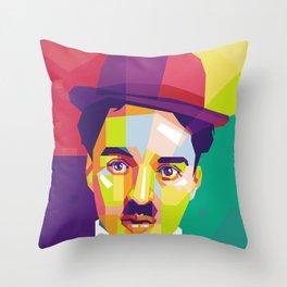 Charlie Chaplin Pop Art WPAP Throw Pillow