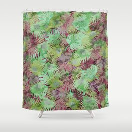 Seamless Pattern of Tropical Leaves II Shower Curtain