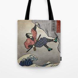 Rock Climbing Samurai Deep Water Soloing Tote Bag