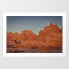 Moonsetting at Sunrise in the Badlands Art Print