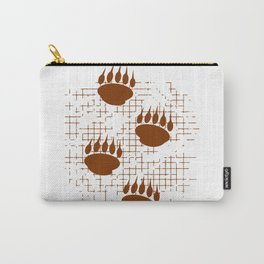 Bear Cub Paw Prints On Distressed Background Carry-All Pouch