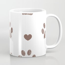 Doodle brown paw prints and hearts vector with white background seamless pattern for fabric Coffee Mug