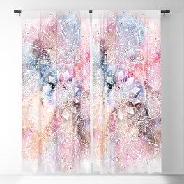 Whimsical white watercolor mandala design Blackout Curtain