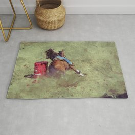 The Barrel Racer - Rodeo Horse and Rider Rug
