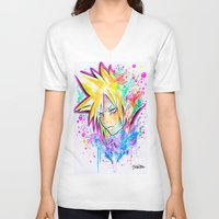 playstation V-neck T-shirts featuring Original - CLOUD STRIFE - Watercolor Painting - Playstation by Jonny Clingan
