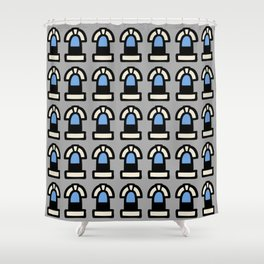 New York Windows Pattern 261 Gray and Blue Shower Curtain