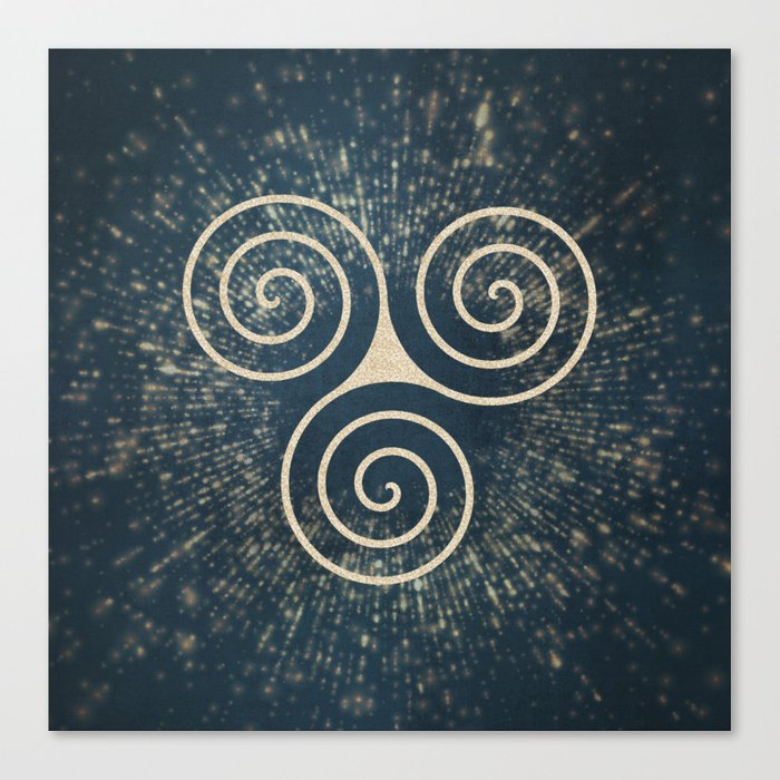 Triskelion Golden Three Spiral Celtic Symbol Canvas Print