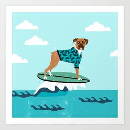 Boxer surfing cute pet gifts dog lovers boxer dog Art Print