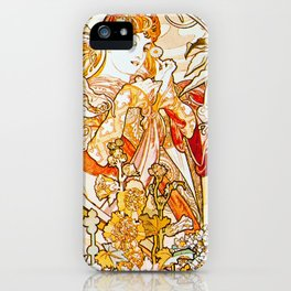 Alphonse Mucha - Woman with Daisy iPhone Case