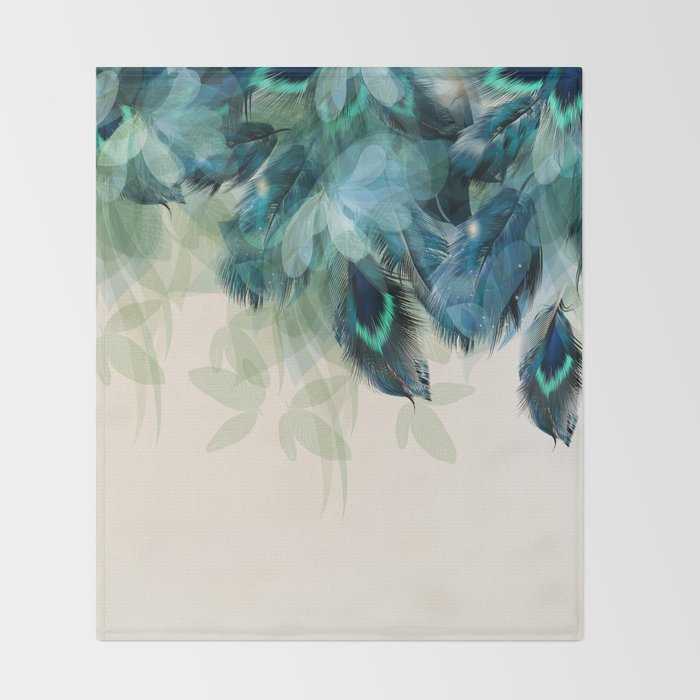 Beautiful Peacock Feathers Throw Blanket