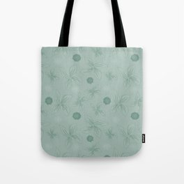 Mint grey green tropical flower print Tote Bag