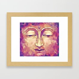 Trippy Buddha Face Painting in pink and orange for girls Framed Art Print