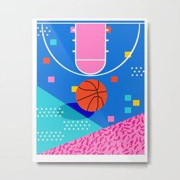 Shot Caller - memphis retro basketball sports athletic art design neon throwback 80s style Metal Print