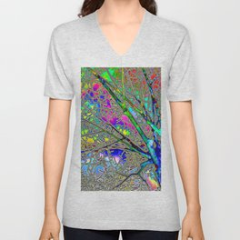 Digital Tree Neon Unisex V-Neck