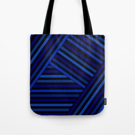 Dark blue striped patchwork Tote Bag